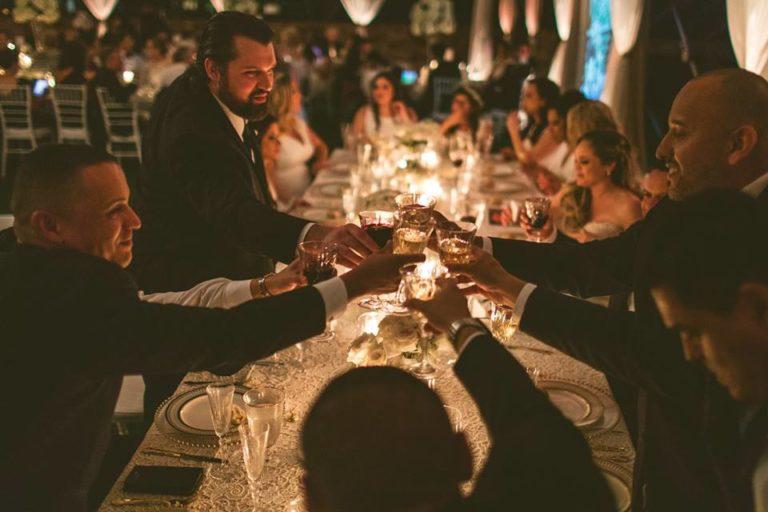 White Bella Collina Wedding Reception Guests