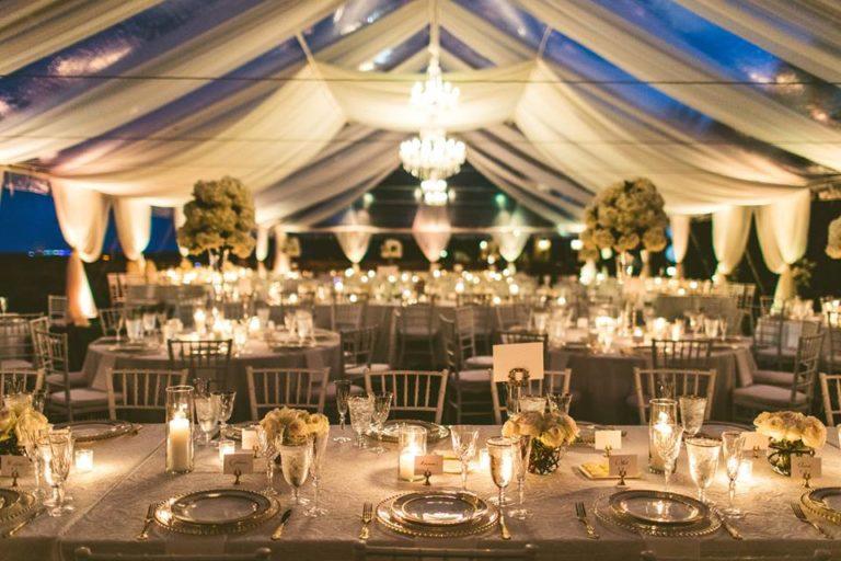White Bella Collina Wedding Reception Tables