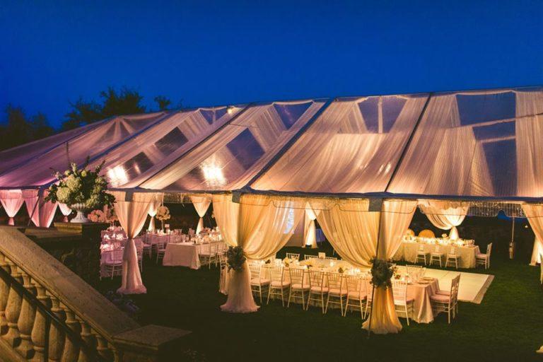 White Bella Collina Wedding Reception Tent