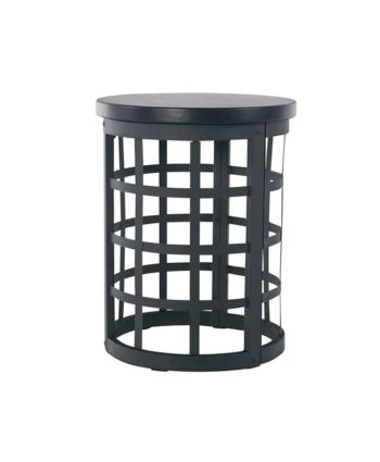 Black Metal Vintage Round End Table
