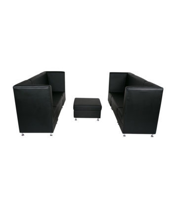Black Mod High Back Grouping w ottoman - A Chair Affair Rentals
