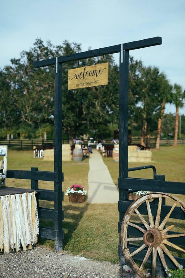 Country Wedding ceremony entrance