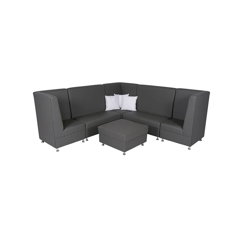 Gray Mod High Back Grouping with Ottoman - A Chair Affair Rentals