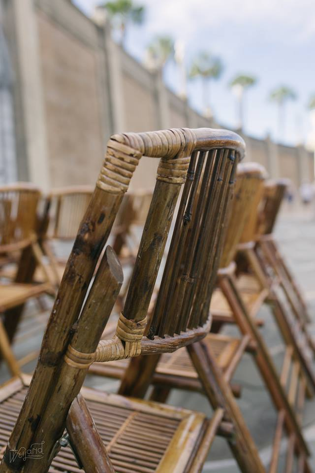 Lake Mirror Wedding bamboo chairs