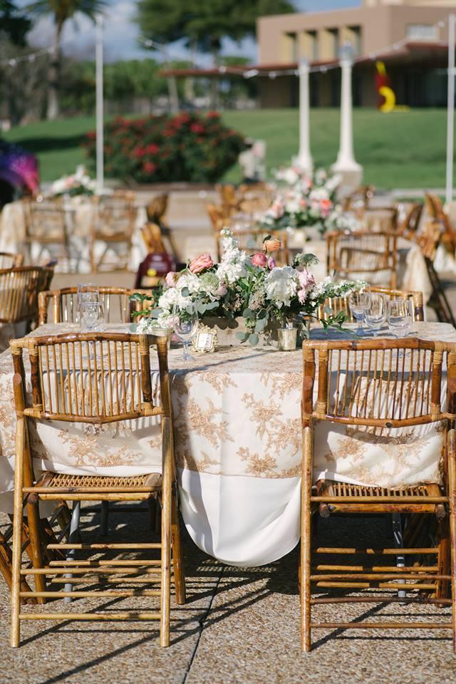 Lake Mirror Wedding bamboo folding chairs