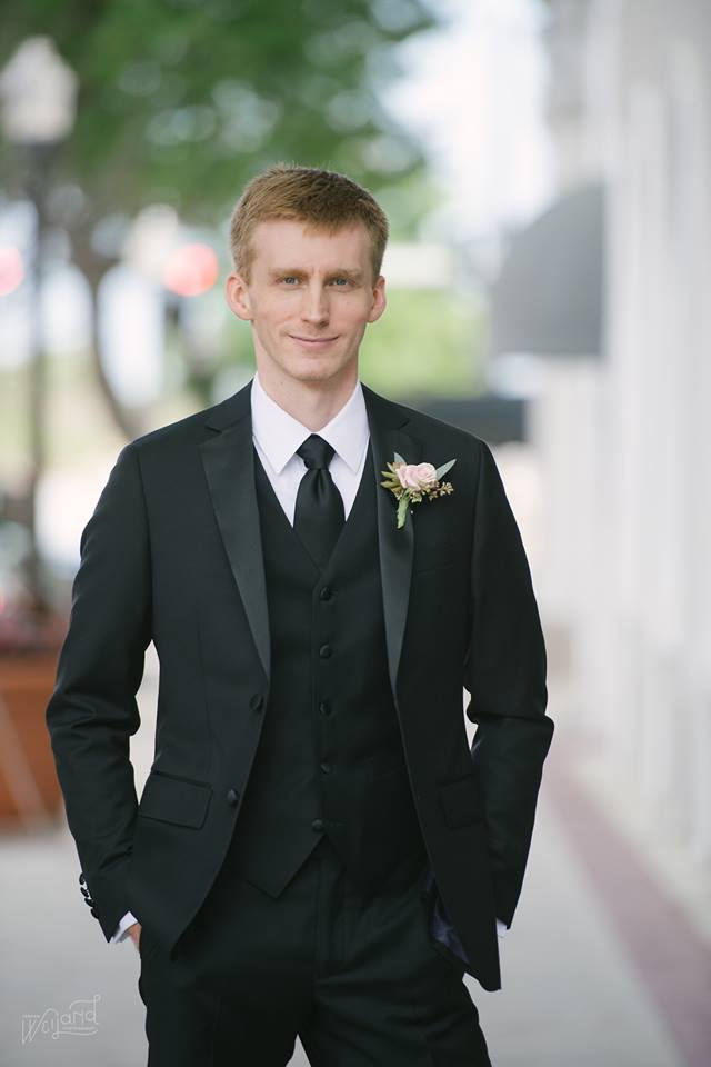 Lake Mirror Wedding groom