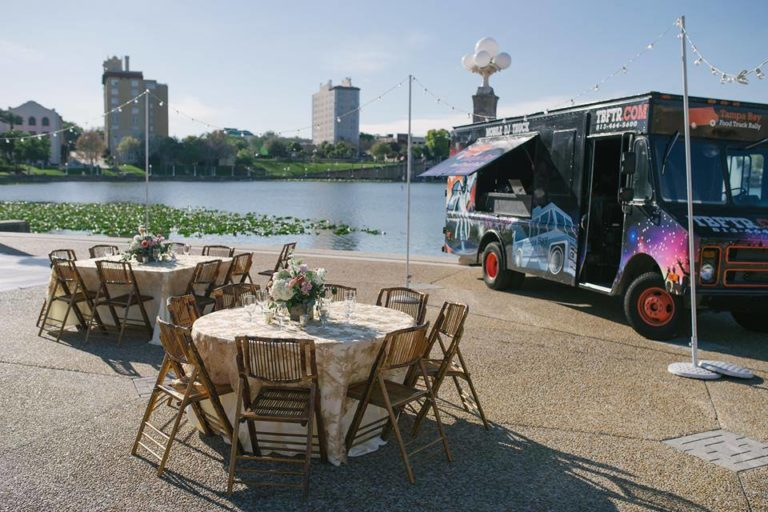 Lake Mirror Wedding reception food truck
