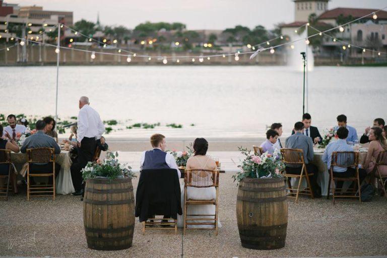 Lake Mirror Wedding whiskey barrels reception