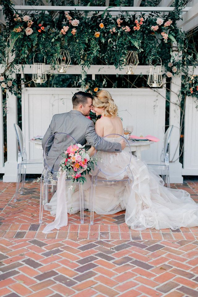 Spring Wedding Inspiration Ghost Chairs Couple