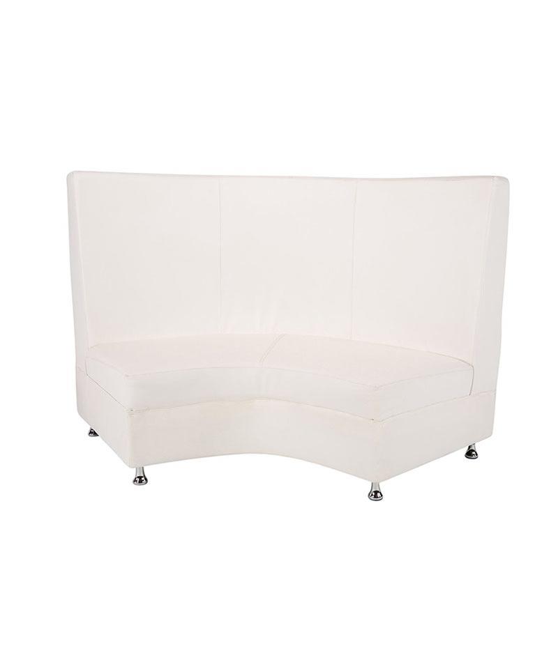 White Mod Highback Curved Loveseat A Chair Affair Als