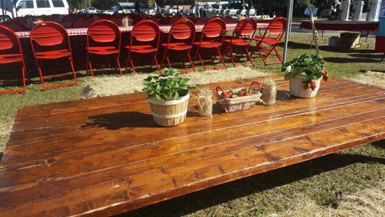 Wish Farms Strawberry Picking Challenge Mahogany Table