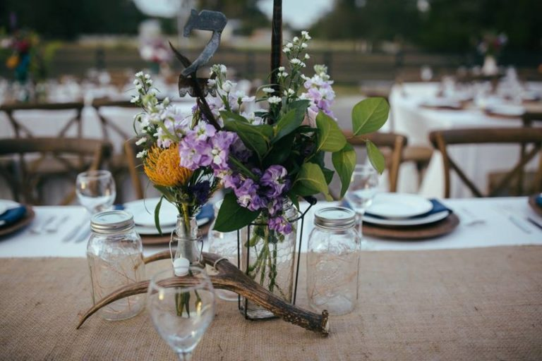 country wedding reception flowers