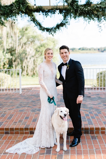 Cypress Grove Estate House Kelly and Ben, couple and dog