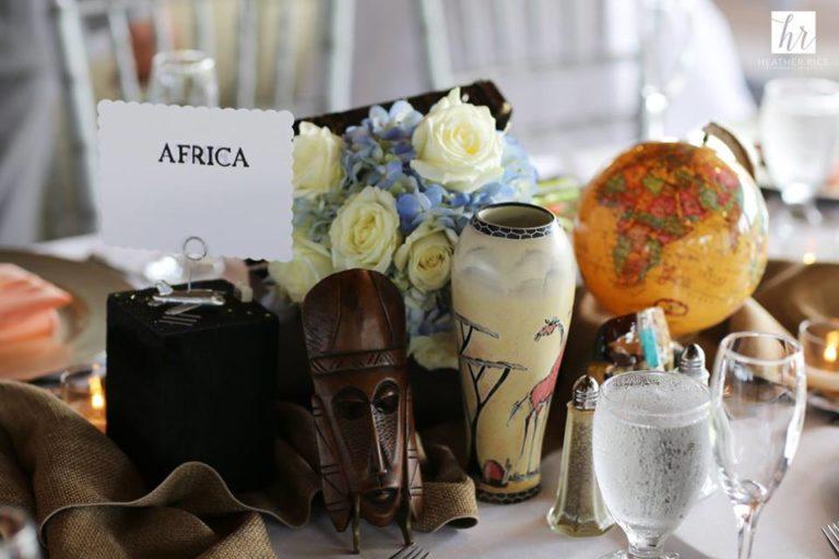 MIssion Inn Resort Wedding reception africa table