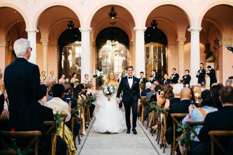 Ringling Museum Wedding ceremony newlyweds