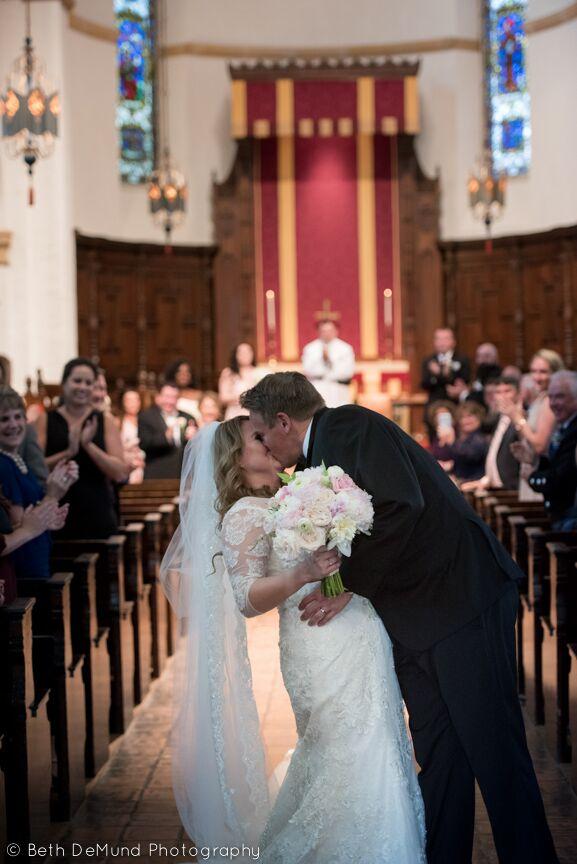 Ballroom at Church Street Wedding ceremony kiss