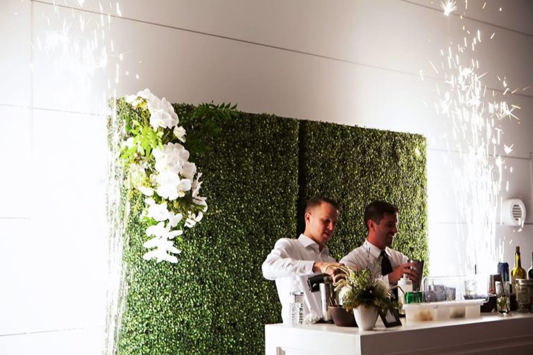 Garden Inspired Wedding hedge wall bar