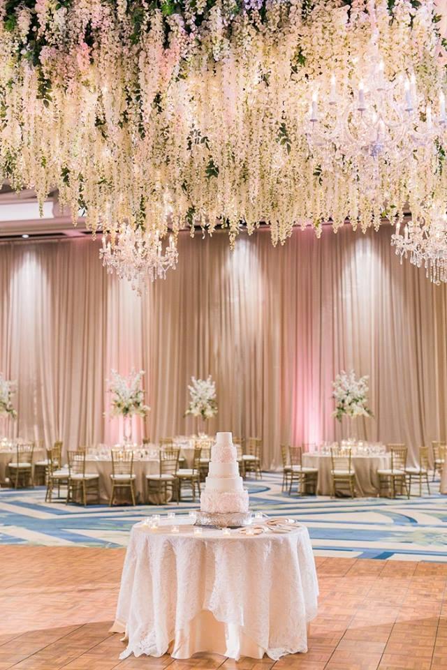 Orlando Grande Lakes Wedding floral chandelier A Chair Affair