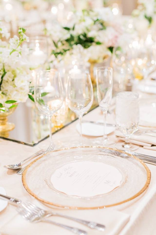 Orlando Grande Lakes Wedding gold rim charger A Chair Affair