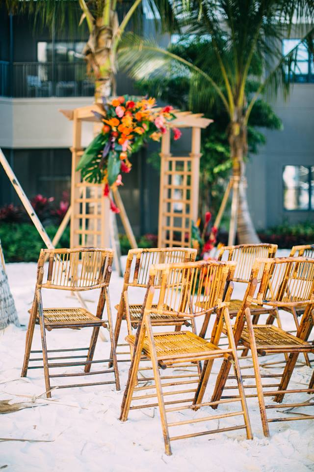 beach wedding inspiration bamboo folding chair