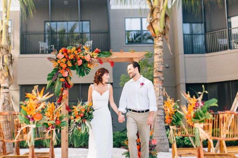 beach wedding inspiration ceremony bamboo folding chairs