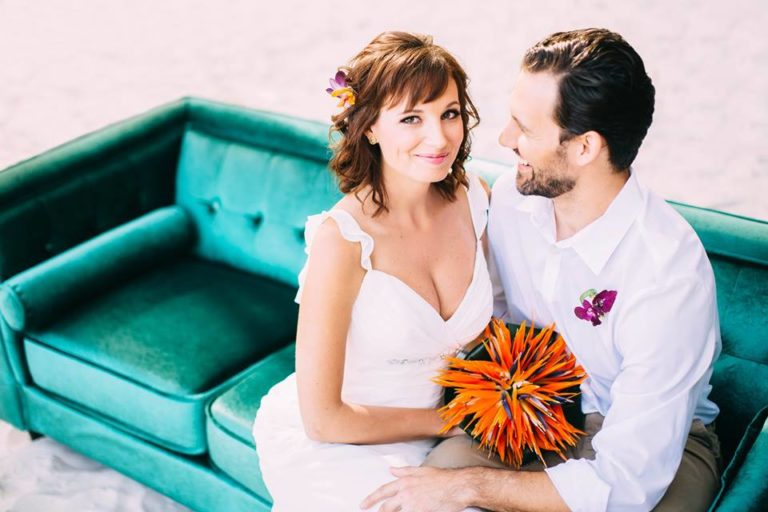 beach wedding inspiration emerald sofa