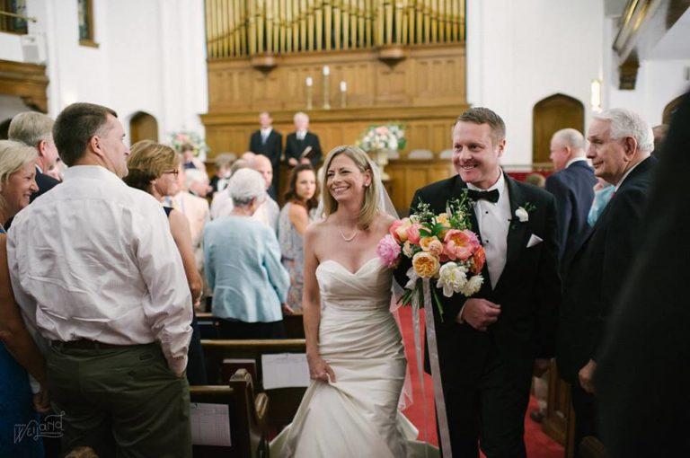 Bartow Tent Wedding A Chair Affair church newlyweds