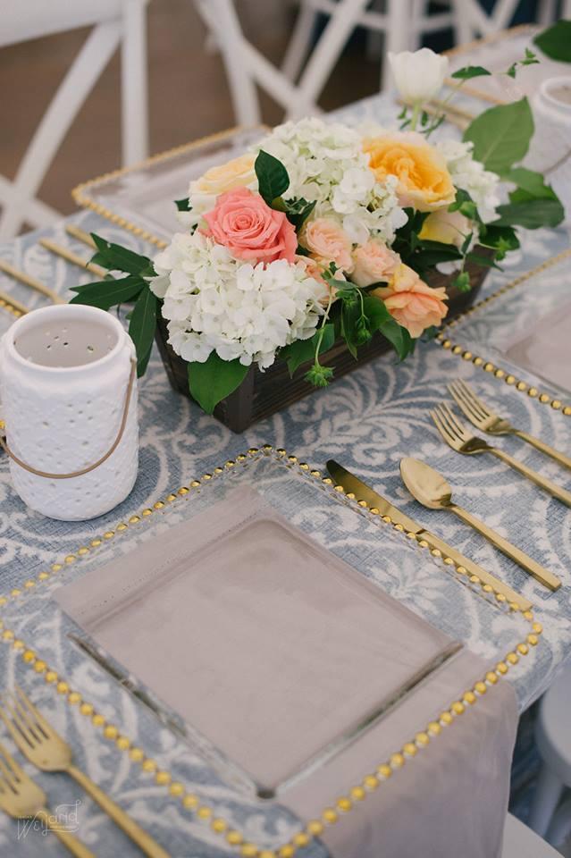 Bartow Tent Wedding A Chair Affair gold flatware belmont chargers