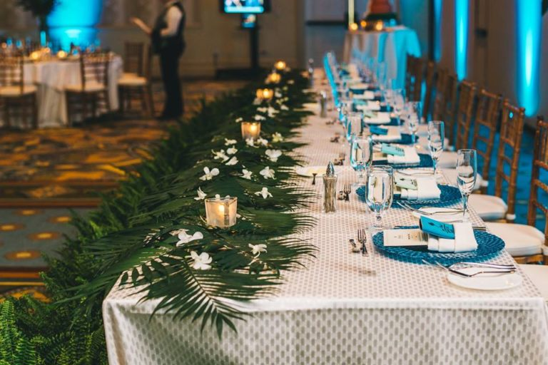 Hilton Orlando Bonnet Creek Wedding A Chair Affair chiavari chairs peacock glass chargers 1