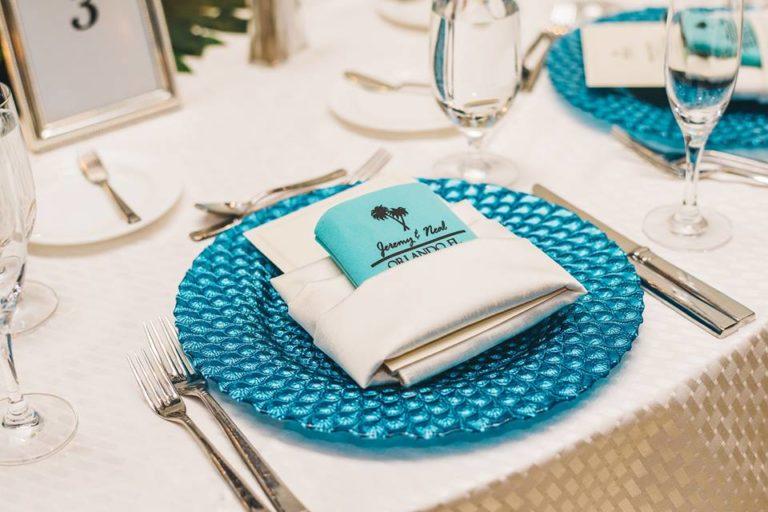 Hilton Orlando Bonnet Creek Wedding A Chair Affair peacock glass charger