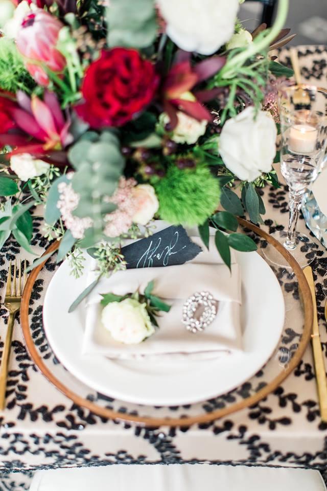 Lakeland Wedding Shoot A Chair Affair gold flatware glass charger 2
