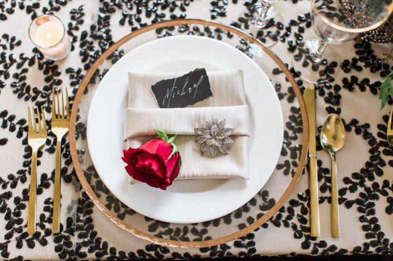 Lakeland Wedding Shoot A Chair Affair gold flatware glass charger 3