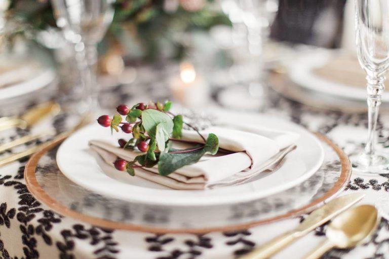 Lakeland Wedding Shoot A Chair Affair gold rim glass charger gold flatware