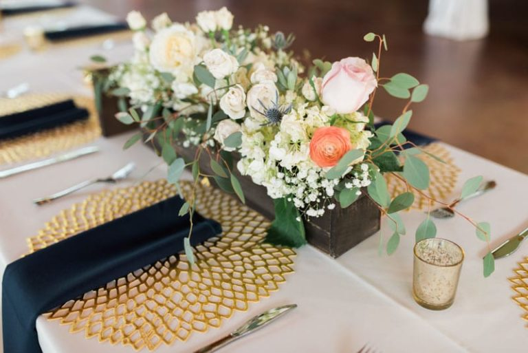 Skyline ranch wedding a chair affair table decor