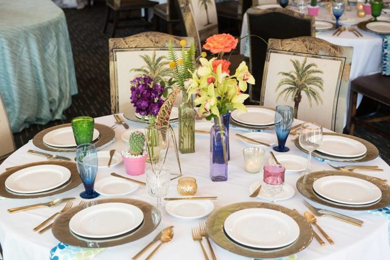 Mission Inn Resort Wedding Shoot A Chair Affair taupe glass chargers