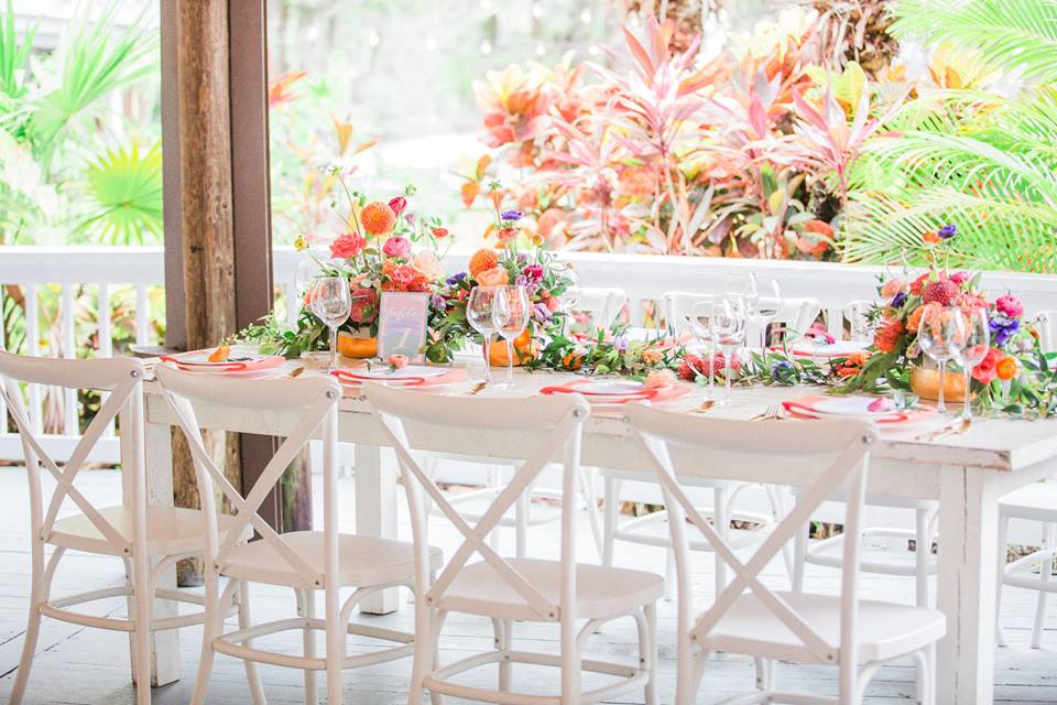 Paradise Cove wedding A Chair Affair farm table french country chair, specialty seating, specialty chairs