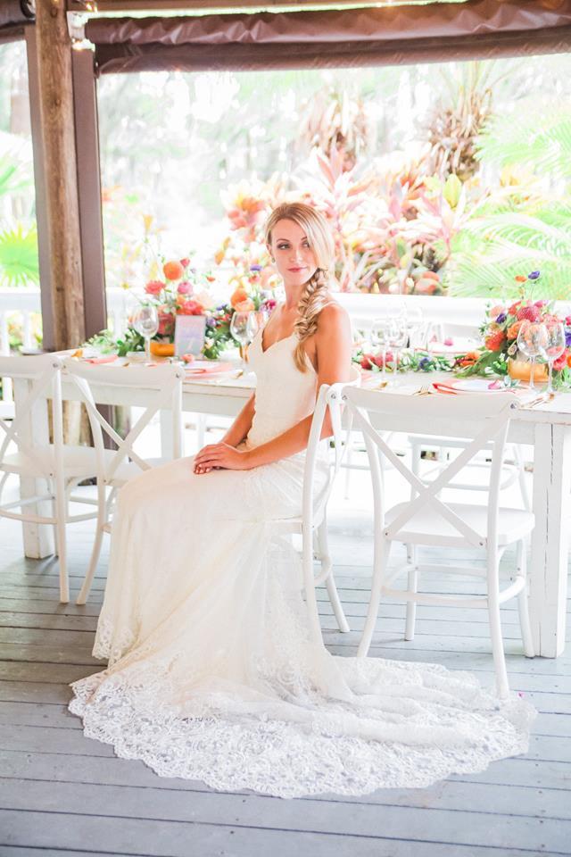 Paradise Cove wedding A Chair Affair farm table french country chair