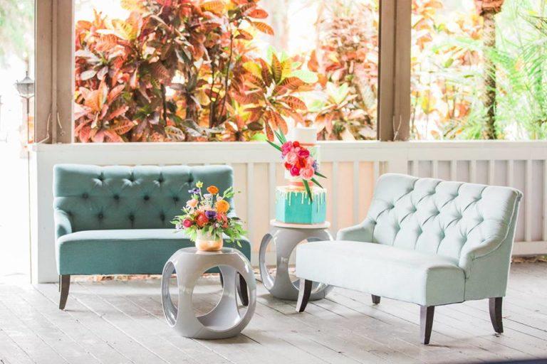 Paradise Cove wedding A Chair Affair rio end table brooklyn settee savannah settee