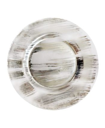 Silver Painted Glass Charger