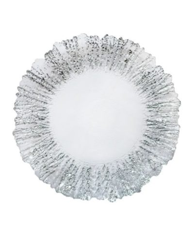 Silver and White Petal Glass Charger