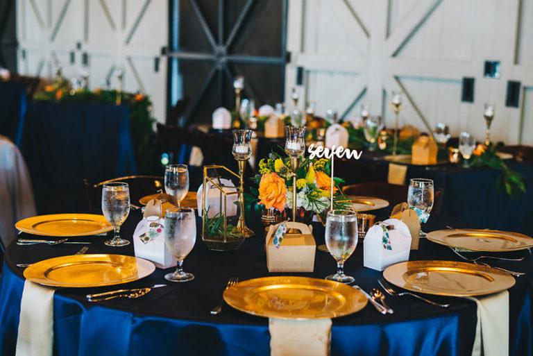 Winter Park Farmers Market wedding A Chair Affair gold glass chargers