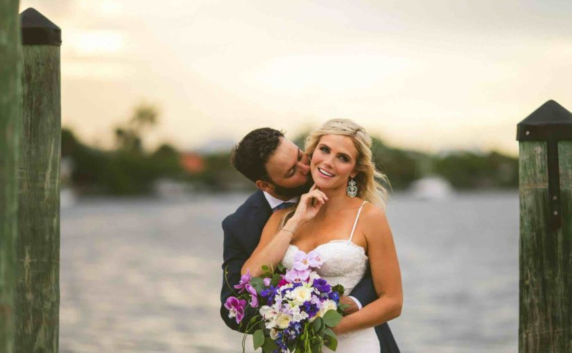 Waterfront Wedding at Eau Gallie Yacht Club A Chair Affair Couple