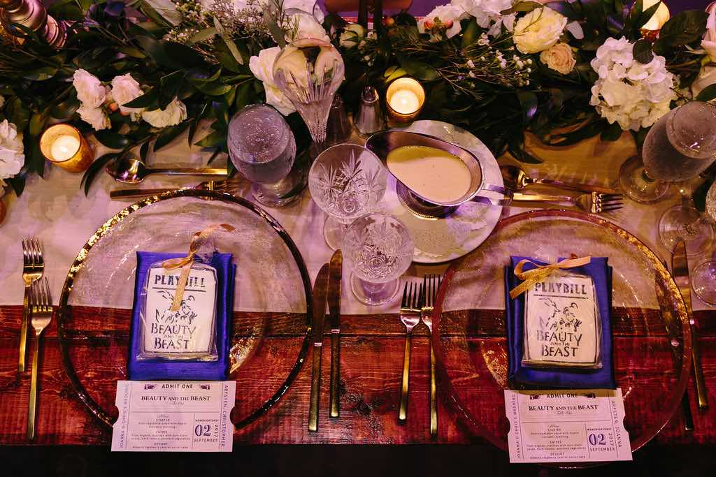 Broadway-inspired Wedding at Straz Center A Chair Affair Gold Rim Glass Chargers