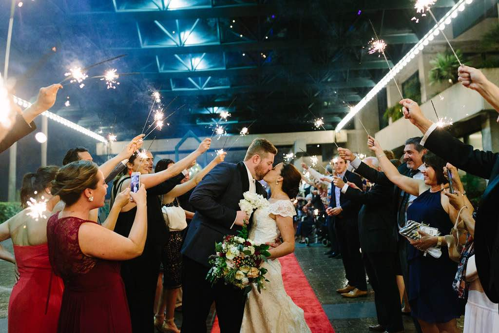 Broadway-inspired Wedding at Straz Center A Chair Affair Sparkler SendOff