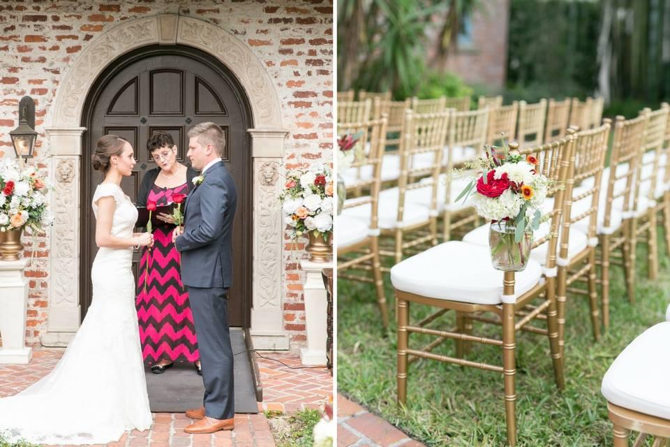 Casa Feliz Wedding A Chair Affair ceremony gold chiavari chairs