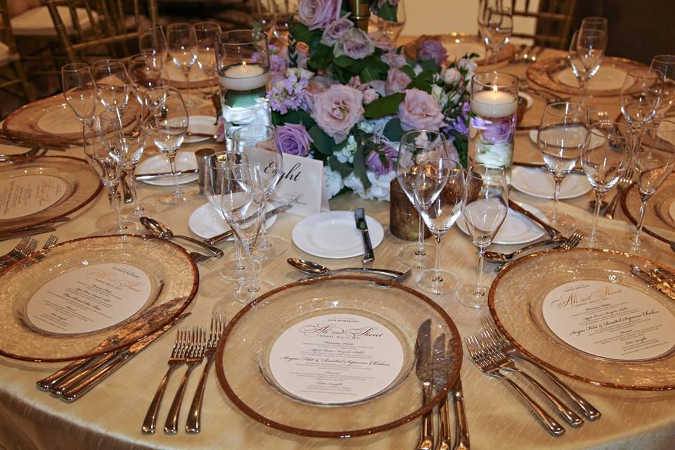Four Seasons Wedding A Chair Affair gold rim charger 1