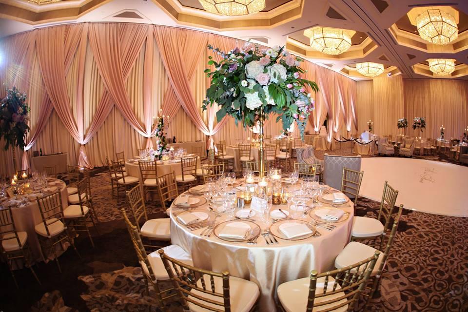 Four Seasons Wedding A Chair Affair gold rim charger chiavari chair 1