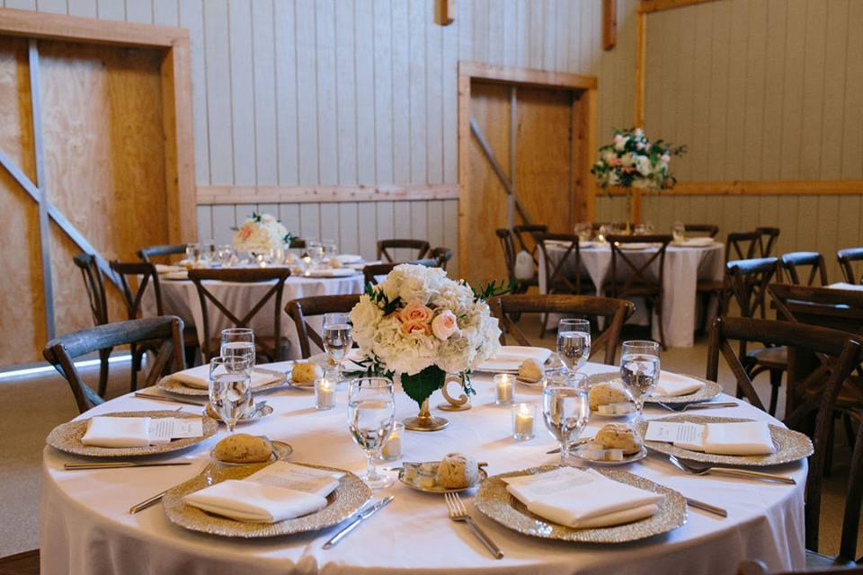 October Oaks Farm Wedding A Chair Affair mahogany french country chairs gold octo chargers 1