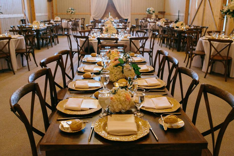October Oaks Farm Wedding A Chair Affair mahogany french country chairs gold octo chargers