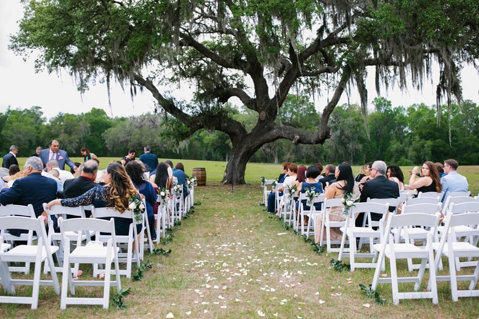 October Oaks Farm Wedding A Chair Affair white folding chairs 1